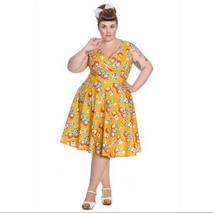 HELL BUNNY Somerset Apple Print Dress in Yellow